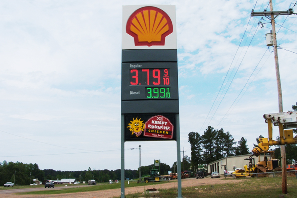 Shell Station - Shell Identification Installed on Double Pylon System, with LED Fuel Pricers and Lighted Tenant Cabinet