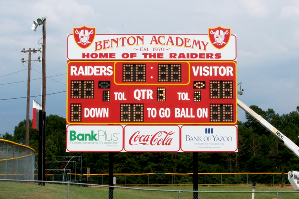 Benton Academy. Lighted Scoreboard with Custom Identification Panels and Sposor Panels