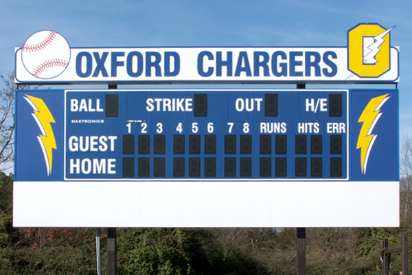 Oxford High School - Lighted Baseball Scoreboard with Custom Shaped Identification and Sponsor Panels