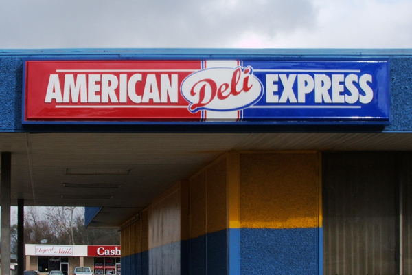 American Deli Express - Lighted cabinet sign