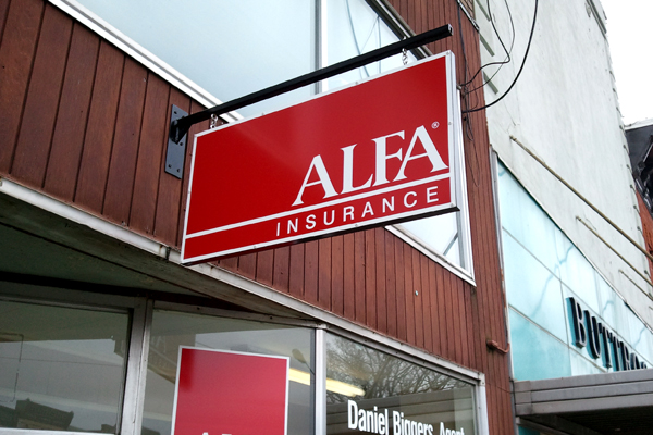 Alfa Insurance - Aluminum Blade Sign with Custom Bracket and Vinyl Graphics