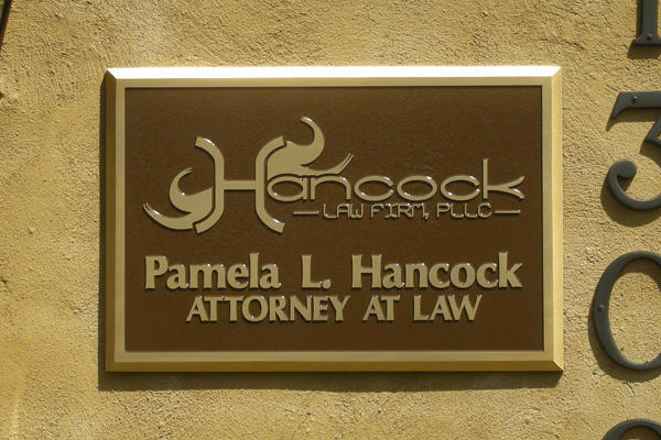 Hancock Law Firm PLLC - custom bronze plaque with logo