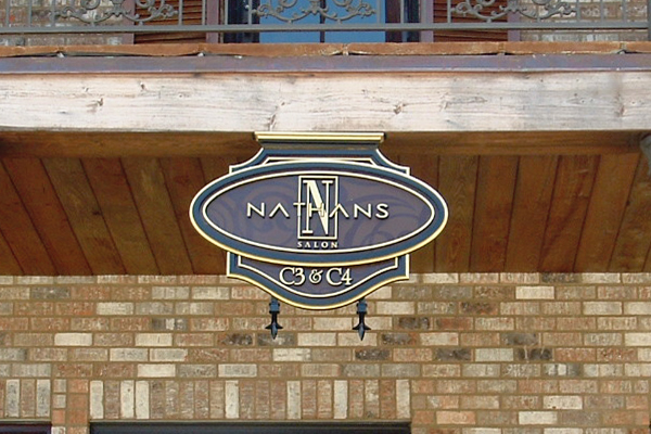 Nathan's Salon - routed HDU sign
