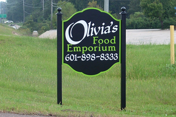Olivia'f Food Emporium - painted MDO sign with vinyl graphics